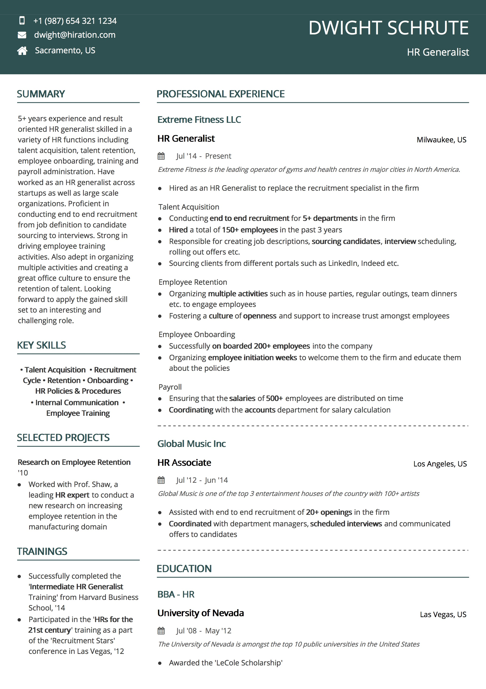 Basic Resume Templates By Hiration