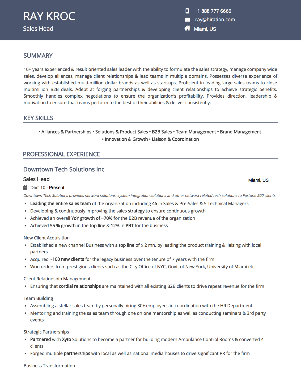 Resume Template: Royal Blue by Hiration