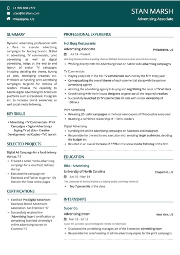 Advertising Associate Resume Sample