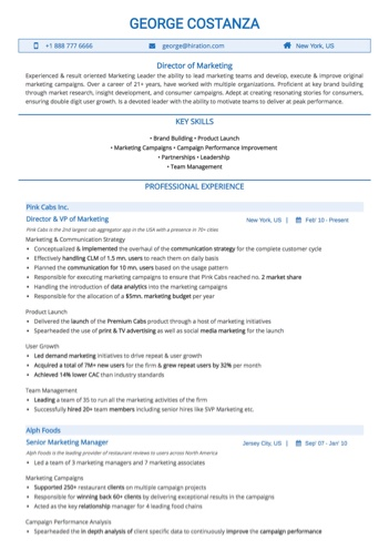 Marketing Head Resume Sample by Hiration