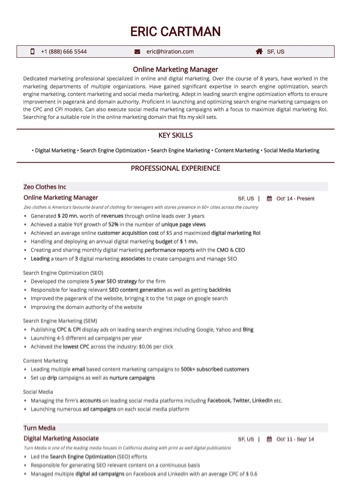 Online Marketing Manager Resume Sample