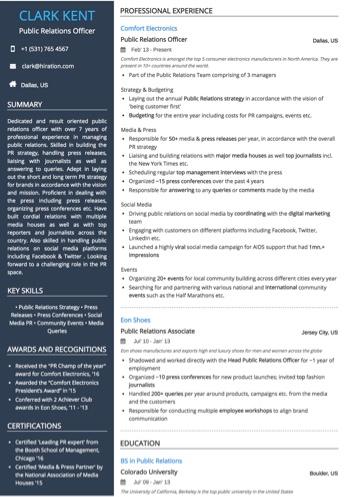 public relations officer resume sample - Public Relations Resume