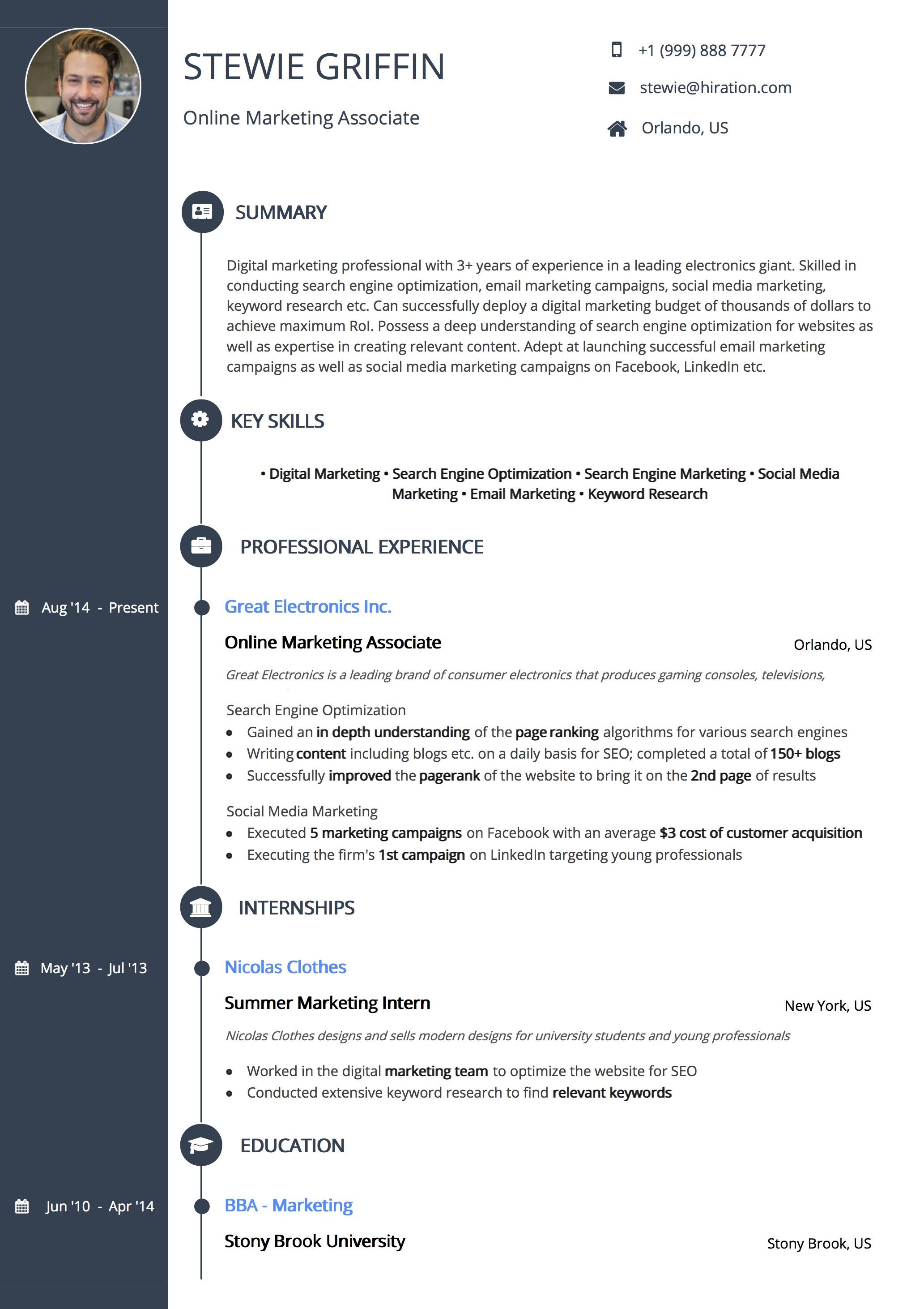 timeline resume template