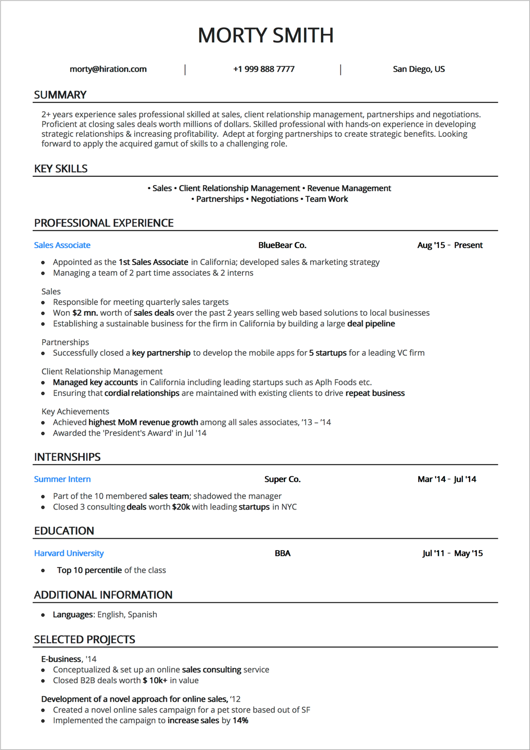 Online Resume Builder By Hiration   Resume Templates